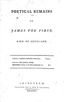 Poetical Remains of James the First  King of Scotland PDF
