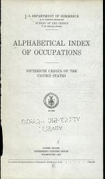 Alphabetical Index of Occupations