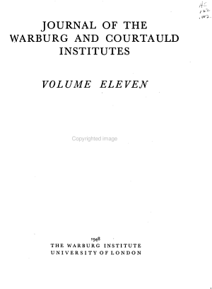 Journal of the Warburg and Courtauld Institutes