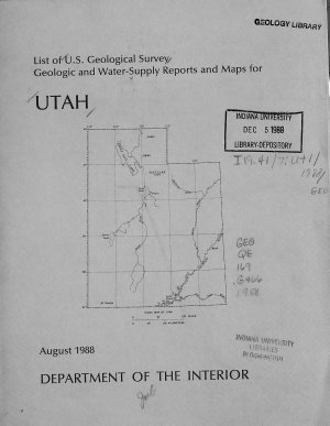 List of Geological Survey Geologic and Water supply Reports and Maps for Utah PDF