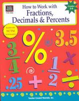 How to Work with Fractions  Decimals   Percents  Grades 5 8 PDF