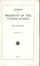 Address of the President of the United States to Congress December 6, 1921