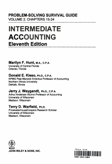 Intermediate Accounting  Chapters 15 24  Self Study Problems Solutions Book Book