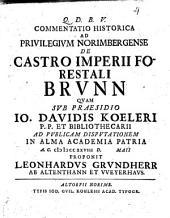Commentatio historica ad privilegium Norimbergense de castro imperii forestali Brunn