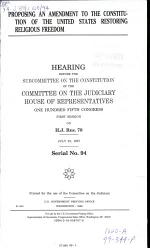 Proposing an Amendment to the Constitution of the United States Restoring Religious Freedom