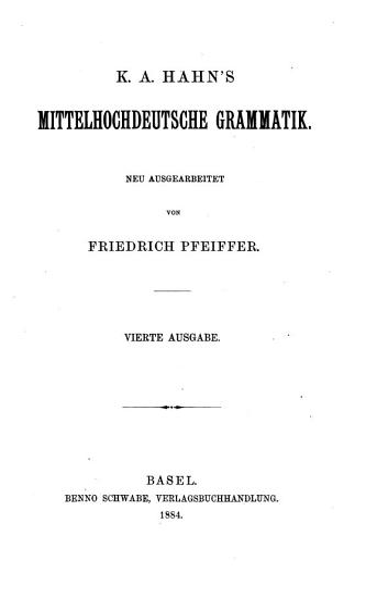 K A  Hahn s Mittelhochdeutsche Grammatik PDF
