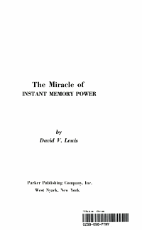 The Miracle of Instant Memory Power