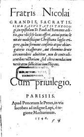 In epistolam Pauli ad Romanos aeditio (etc.) - Parisiis, Le Preux 1546