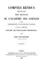 Comptes rendus hebdomadaires des séances de l'Académie des sciences: Volume112,Numéros1à13