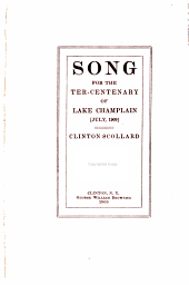 Song for the Ter-centenary of Lake Champlain July, 1909
