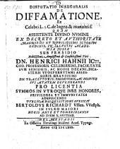 De diffamatione; resp. Bertoldus Richardt. -Helmstadii, Müller 1663