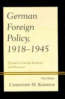 German Foreign Policy  1918 1945 PDF