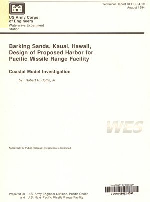 Barking Sands  Kauai  Hawaii  Design of Proposed Harbor for Pacific Missile Range Facility