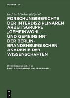 Gemeinwohl und Gemeinsinn PDF