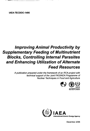Improving Animal Productivity by Supplementary Feeding of Multinutrient Blocks  Controlling Internal Parasites and Enhancing Utilization of Alternate Feed Resources PDF