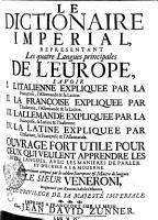 DITTIONARIO IMPERIALE NEL QUALE Le quatro Principali Lingue D EUROPA PDF