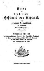 Rede auf den heiligen Johannes von Nepomuk, welche in seiner Namenskirche zu München den 16 May 1769 gehalten worden