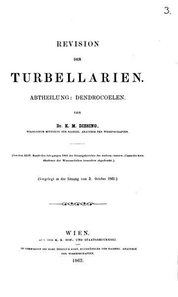 Revision der Turbellarien PDF