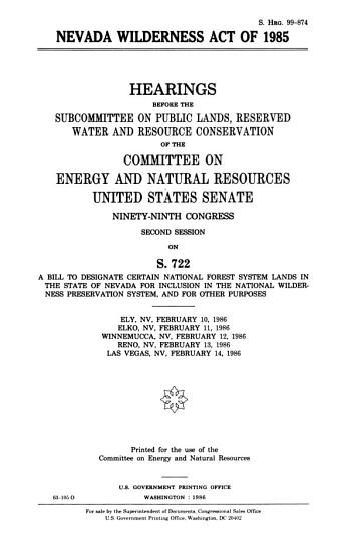 Nevada Wilderness Act of 1985 PDF