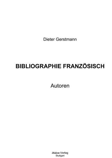 Bibliographie Franz  sisch PDF