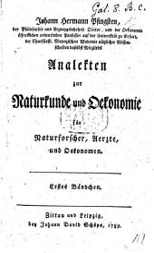 Analekten zur Naturkunde und Oekonomie: Volume 1