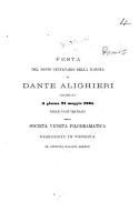 Festa del sesto centenario della nascita di Dante Alighieri celebrata     nelle sale teatrali della Societ   Veneta Filodramatica  etc   Discourse of A  S  Minotto   PDF