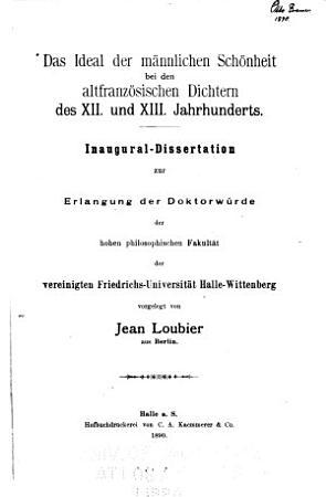 Das Ideal der m  nnlichen Sch  nheit bei den altfranz  sischen Dichtern des XII  und XIII  PDF