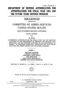 Department of Defense Authorization for Appropriations for Fiscal Years 1993 and the Future Years Defense Program