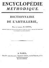 Encyclopédie méthodique: Dictionnaire de l'artillerie