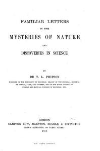 Familiar Letters on Some Mysteries of Nature and Discoveries in Science PDF