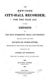 The New-York City-hall Recorder: Volume 4