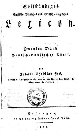 Vollst  ndiges Englisch Deutsches und Deutsch Englisches Lexikon PDF