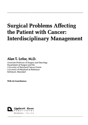 Surgical Problems Affecting the Patient with Cancer PDF