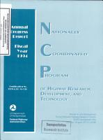Nationally Coordinated Program of Highway Research  Development  and Technology  Annual Progress Report  Fiscal Year 1994 PDF