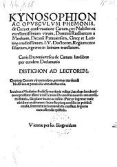 Kynosophion ac opusculum Phemonis ... de cura et conservatione canum per Rudbertum a Moshaim ... e Graeco in Latinum translatum (etc.)