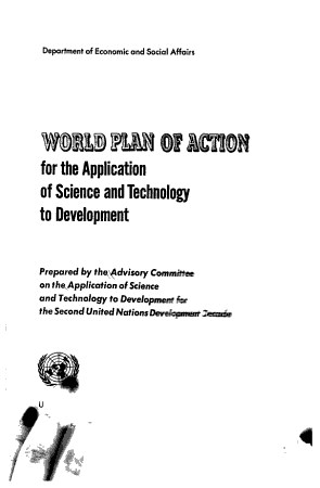 World Plan of Action for the Application of Science and Technology to Development PDF