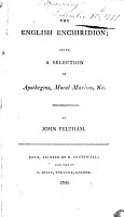 The English Enchiridion  Being a Selection of Apothegms  Moral Maxims  Etc PDF