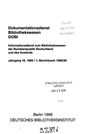 Dokumentationsdienst Bibliothekswesen PDF