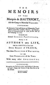 The Memoirs of the Marquis of Hautefort, Etc. [Translated by J. Spencer.]