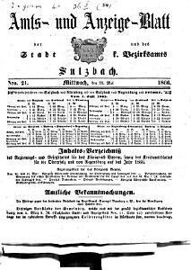 Amts  und Anzeigeblatt der Stadt und des K  Bezirksamts Sulzbach PDF