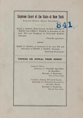 Supreme Court of the State of New York Papers on Appeal from Order