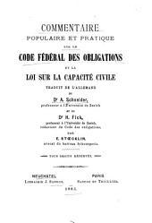 Commentaire populaire et pratique sur le Code fédéral des obligations et la loi sur la capacité civile