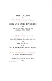 Licia, and Other Love-poems, and Rising to the Crowne of Richard the Third