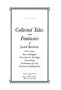 Collected Tales and Fantasies of Lord Berners