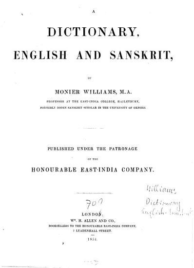 A Dictionary English and Sanskrit PDF