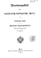 Verordnungsblatt für das k. u. k. Heer: Personal-Angelegenheiten, Band 33
