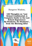 Hangover Wisdom  100 Thoughts on Law School Confidential PDF