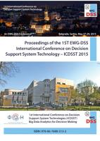 Proceedings of the 1st EWG DSS International Conference on Decision Support System Technology     ICDSST 2015 PDF