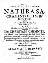 Disputatio Theologica De Natura Sacramentorum In Genere