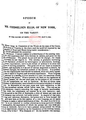 Speech     on the Tariff  in the House of Representatives  May 8  1844
